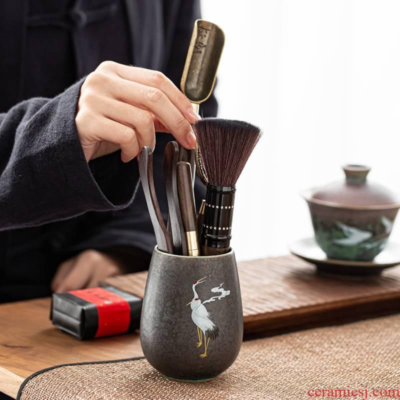Coarse pottery tea six gentleman kung fu tea accessories ebony sword ChaGa tea tea tea spoon, brush accessories