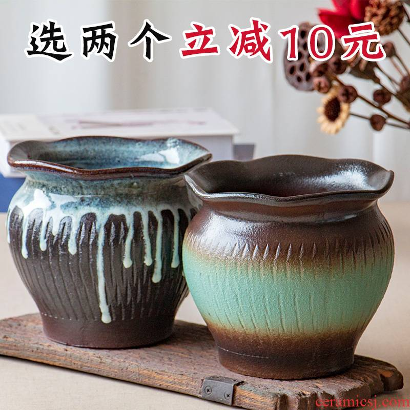 Extra large fleshy flowerpot coarse pottery meaty plant orchid Chinese rose to heavy ceramic money plant POTS mage old running the flowerpot