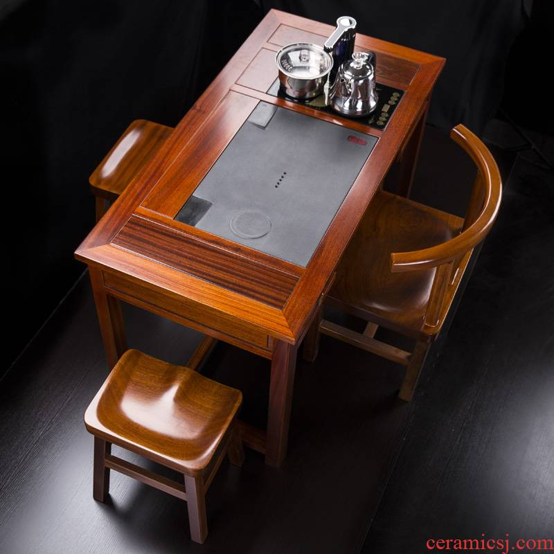 Hua limu tea table and chair composite solid wood tea table work small balcony of new Chinese style tea tea table of kung fu tea table B