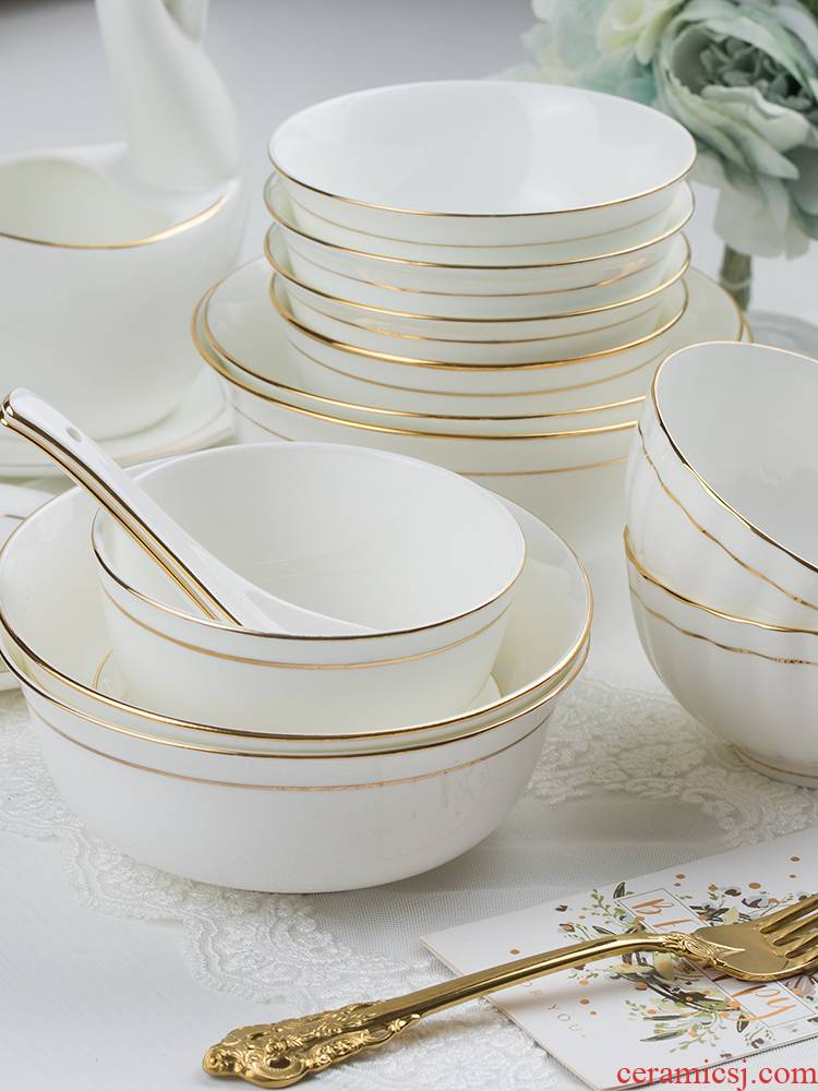 Jingdezhen ceramic home eat rice bowl ipads China creative rainbow such as bowl soup bowl large small bowl of rice bowl chopsticks tableware in up phnom penh