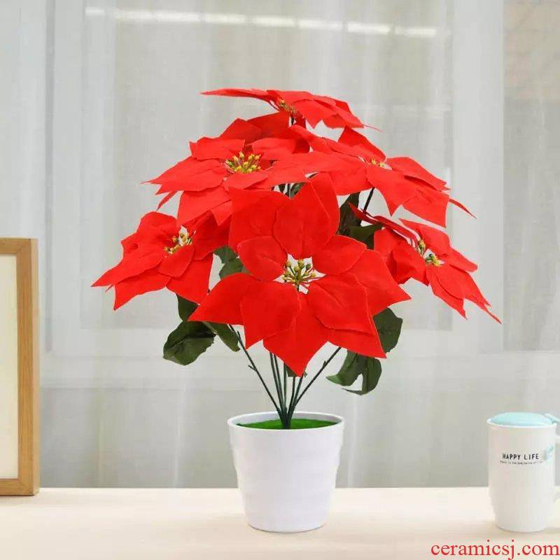 Artificial flowers simulation silk flower art home sitting room table decorations plastic ikea small potted bonsai furnishing articles tea table