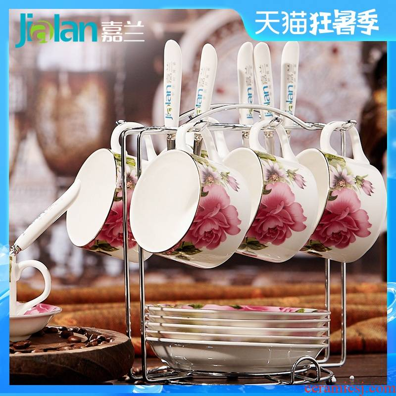 Garland ipads porcelain coffee cup six ceramic cups and saucers spoon suit European coffee set creative coffee cup