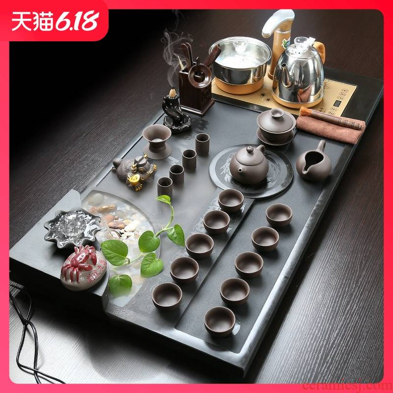 Guest comfortable the whole piece of stone tea tray was sharply resistant ceramic kung fu tea set four one automatic electrical home outfit