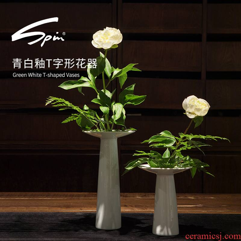 Spin T glyph flower implement T vases, ceramic table furnishing articles furnishing articles decorative vase dried flowers of I and contracted