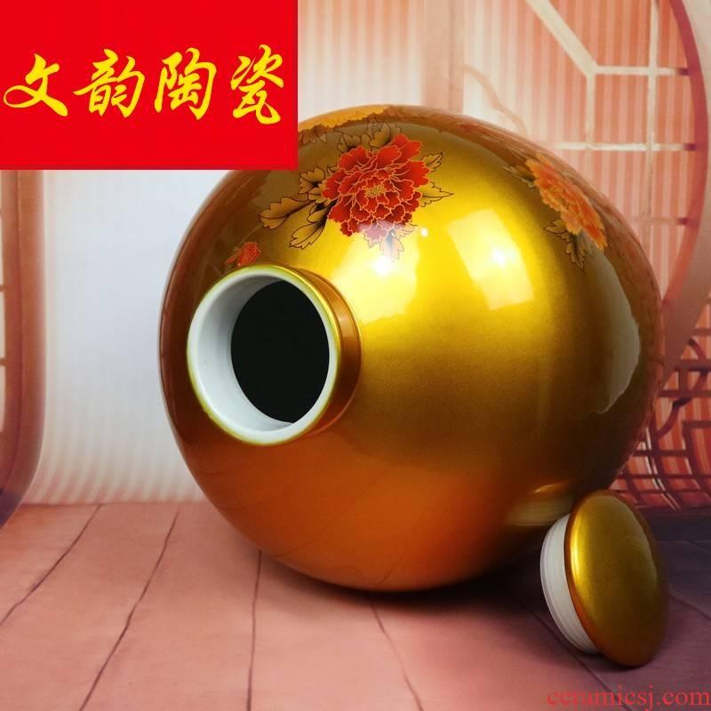 Jingdezhen ceramic jars 50 kg 30 jins 20 jins 10 jins seal terms bottle it as cans household hip flask