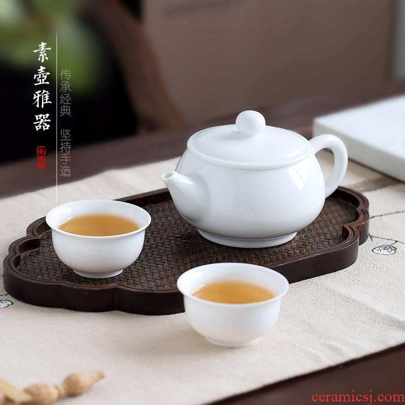 Jingdezhen up the fire which manual kung fu tea cozy contracted white porcelain teapot tea Japanese pu single pot