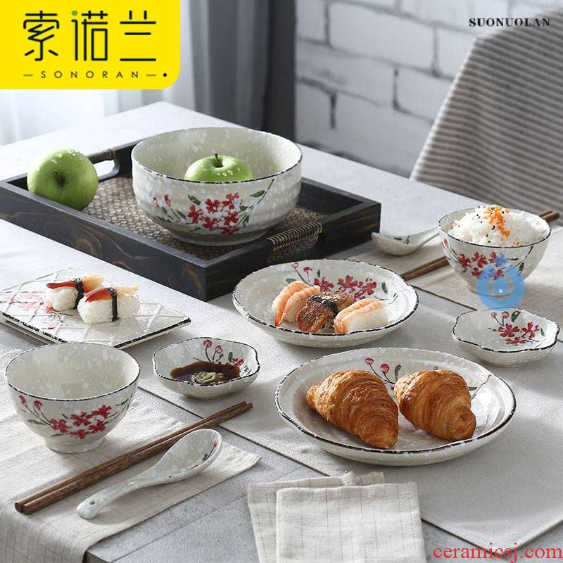 Two people eat Japanese - style tableware suit dishes home under the glaze color 2 creative ceramic dishes chopsticks dishes