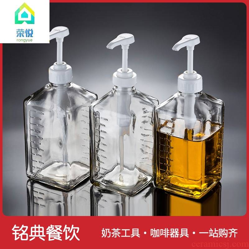 Sugar fructose pressure bottle of hand pressure type pressure bottle glass bottle Sugar re-moniker policy machine bottle opener policy squeeze bottles of milk tea shop