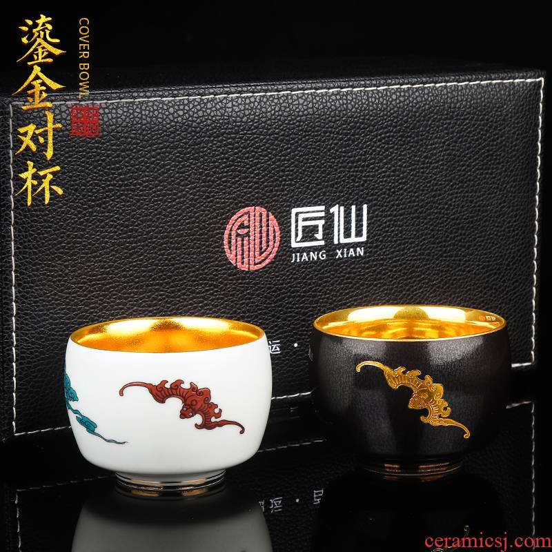 Artisan fairy gold cup couples for a cup of pure checking ceramic cups household kunfu tea cup sample tea cup individuals