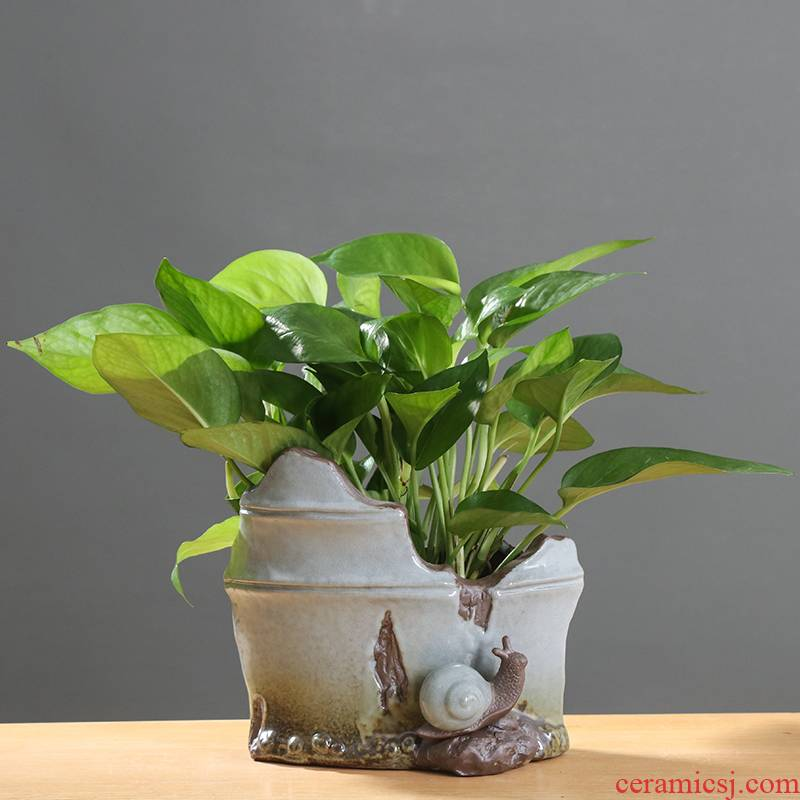 Chinese ceramic flower pot creative move money cooper plant grass special pot asparagus indoor potted flower implement furnishing articles