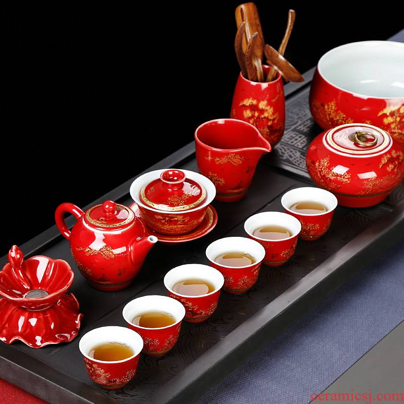 Jingdezhen ceramic tea set red wedding gift box kung fu tea cup lid bowl of Chinese style household, office
