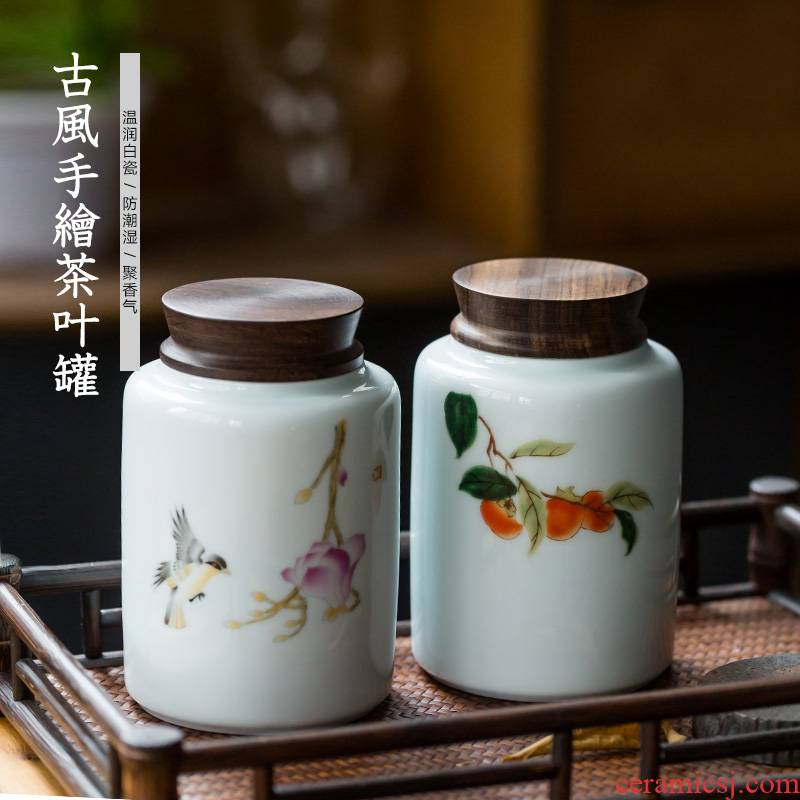 Hand - made ceramic tea caddy fixings storehouse storage tanks white porcelain ebony cover seal pot tea and tea, tea taking with zero