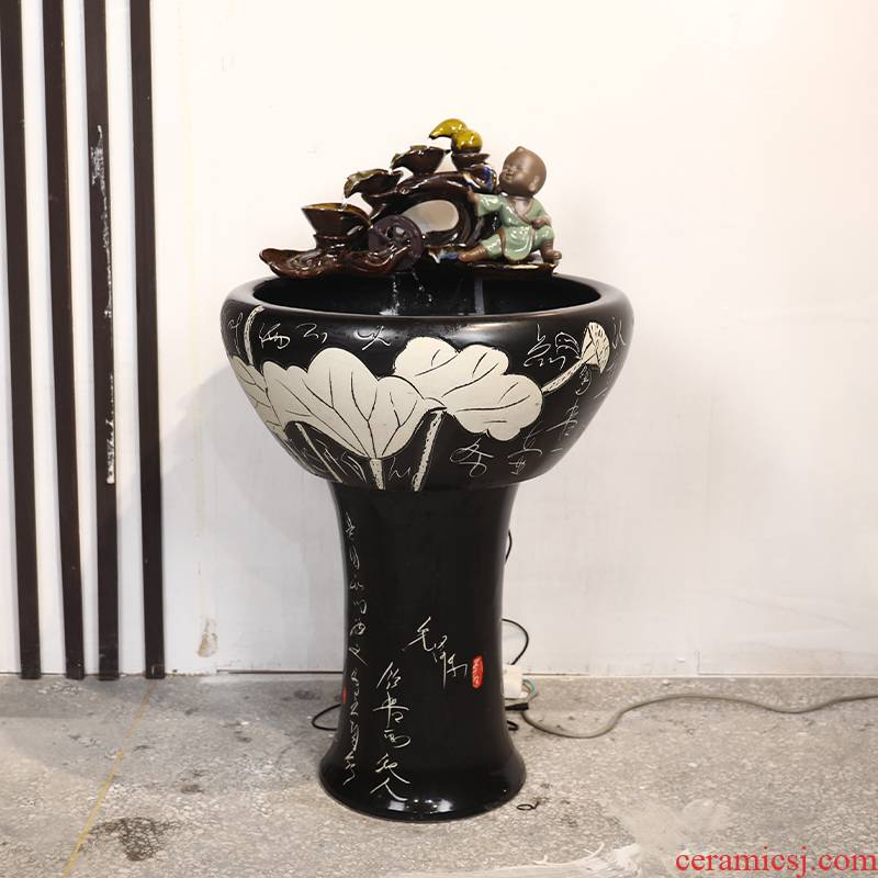 Ceramic art soul pillar type water basin large fish tank water lily tortoise cylinder ground decorative landscape furnishing articles