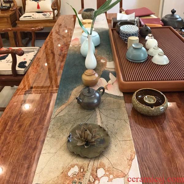 Tea table cloth cotton and linen zen pure color large Tea table linen waterproof rectangular table cloth Chinese style table flag Chinese wind
