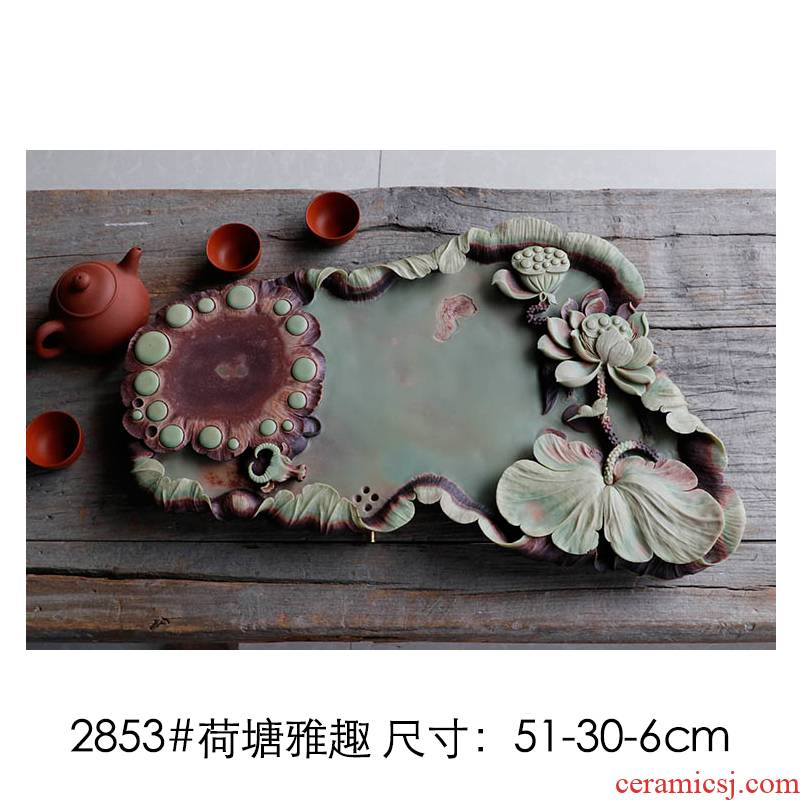Shu is a purple robe jade belt stone tea tea tray with the whole piece of the original natural stone, stone tea set contracted dry mercifully set