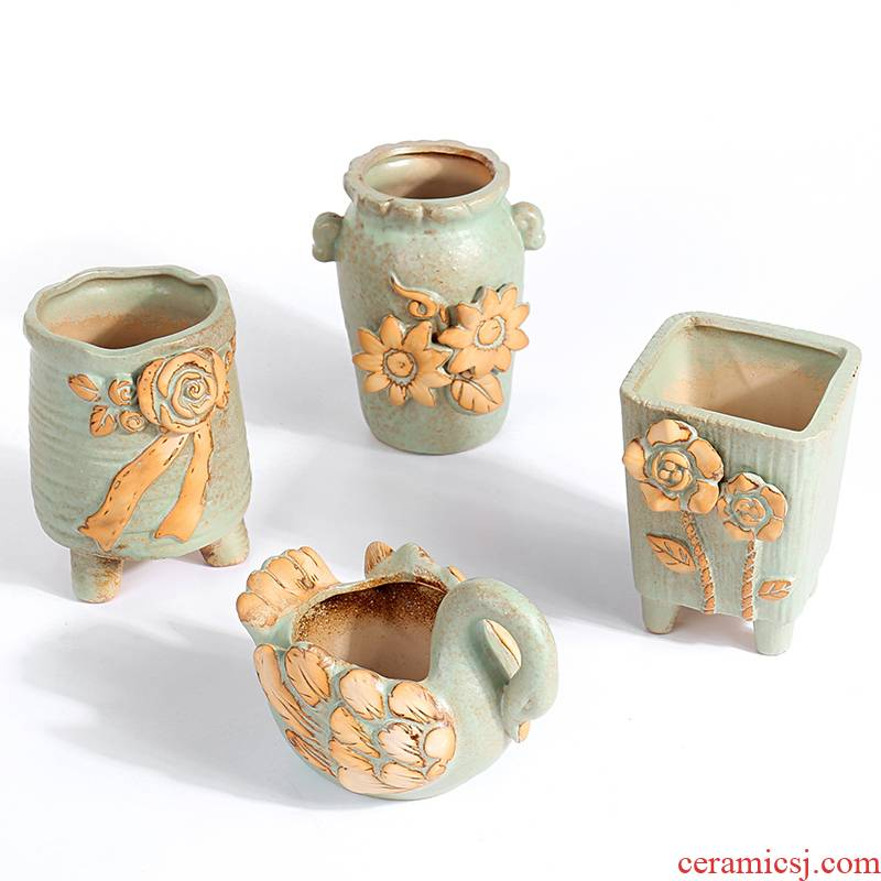 Ins the wind restoring ancient ways is green flesh POTS ceramics through more) tao indoor high old running the basin special offer a clearance