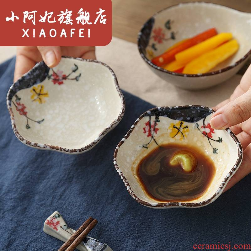 Japanese ceramics hand - made under glaze color tableware household snowflakes glaze soy sauce dish dish name plum flower disc
