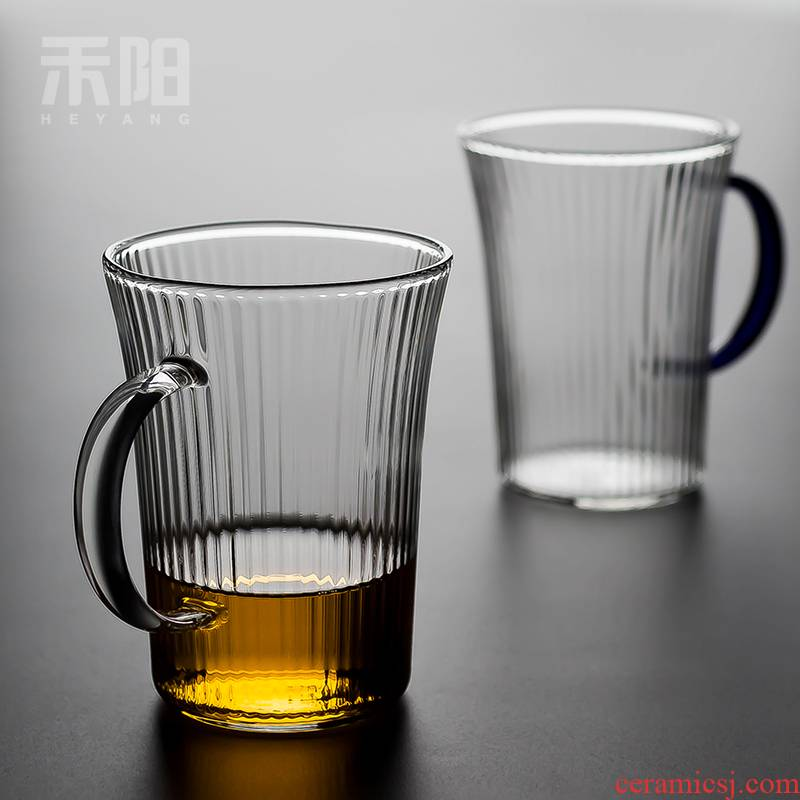 Send Yang refractory glass cup of green tea cup office cup with the tea cup of household water cup individual cup