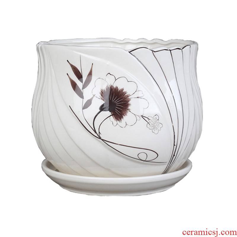 Large single white porcelain pot pot set art flower'm hand woven indoor Korean tray