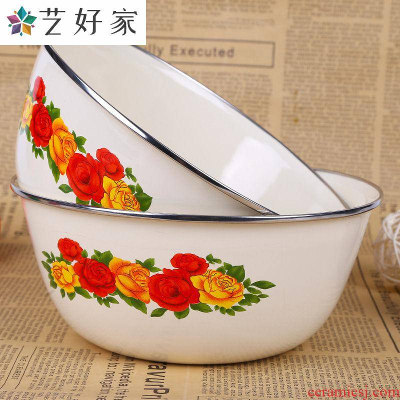 Porcelain large mixing bowl with cover preservation box mercifully rainbow such to use as the pot soup bowl of fruits and vegetables salad enamel pot.