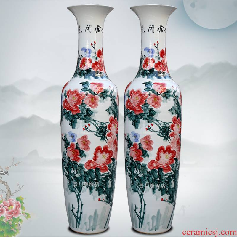 Jingdezhen ceramics from pastel hand - made peony of large vases, I sitting room adornment home furnishing articles