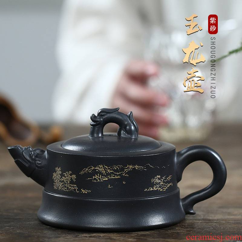 Four - walled yard are it yixing undressed ore sharply mud masters all hand yulong, daily home office receives a visitor pot of the teapot