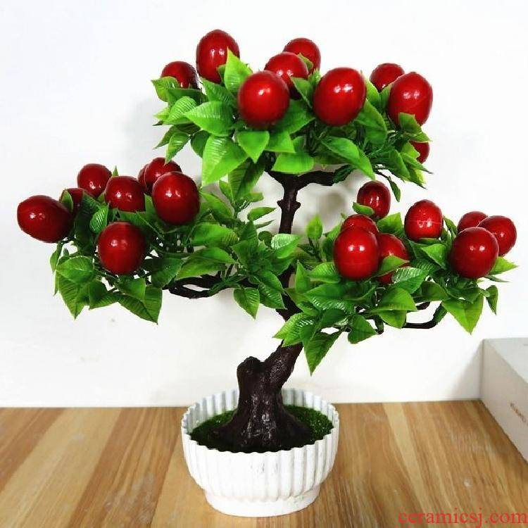Flowerpot plastic POTS with tray was home potted potted flower adornment elliptical desk combination simulation table, small ornament