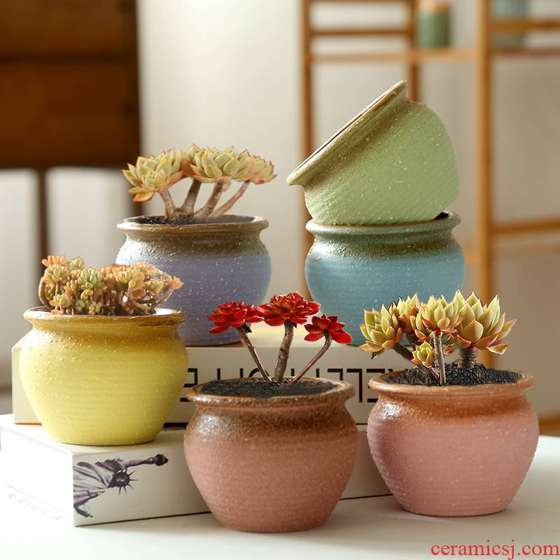 End special thick fleshy flowerpot ceramics ceramic grinding meat meat the plants of large diameter clearance retro breathable old basin