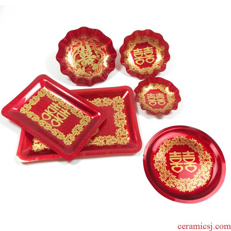 I round tray square tea red plastic tray was wedding bride tea acrylic fruit plate