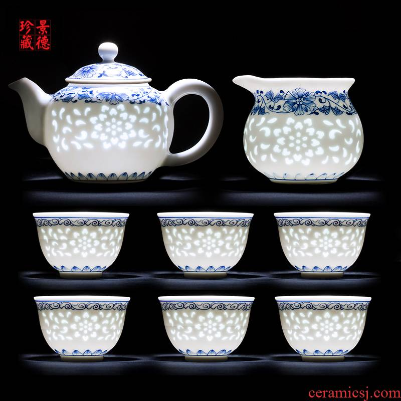 Jingdezhen up the fire which is blue and white and exquisite kung fu tea sets hand - made ceramic teapot teacup small office