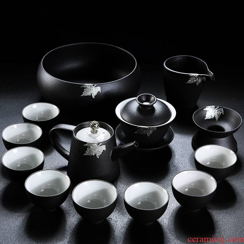 Old &, ceramic household kung fu tea set contracted tea tray was Japanese tureen coarse pottery cups of black tea POTS