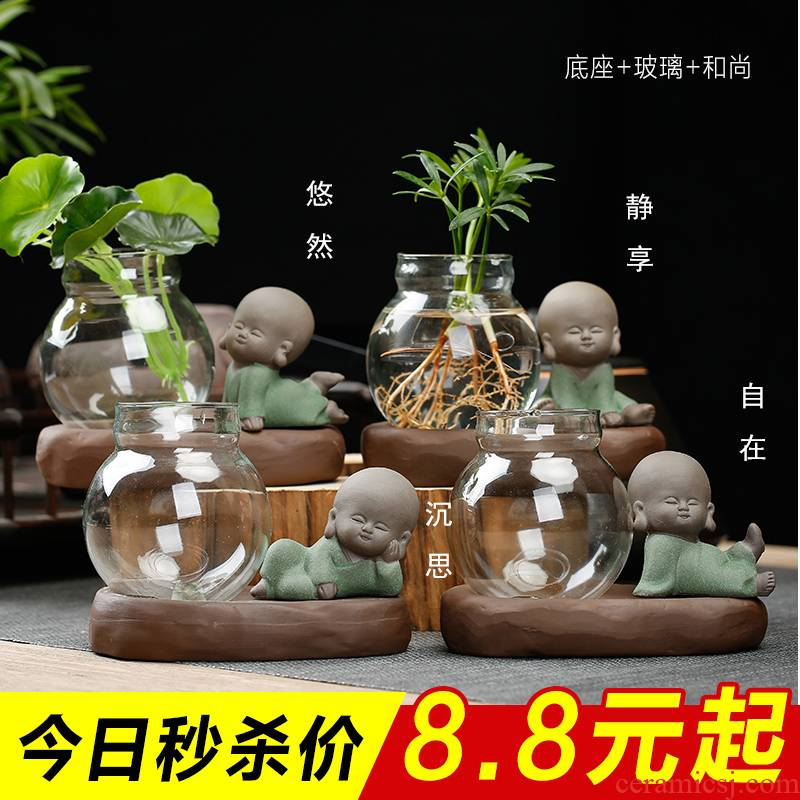 Vase glass transparent ceramics hydroponic other meat flowerpot zen furnishing articles sitting room tea pet creative express little pure and fresh