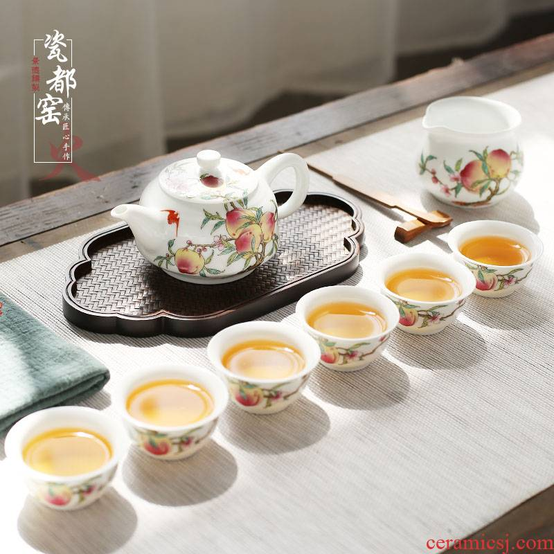 Jingdezhen hand - made teapot 6 small household famille rose tea set ceramic kung fu tea cup of a complete set of restoring ancient ways