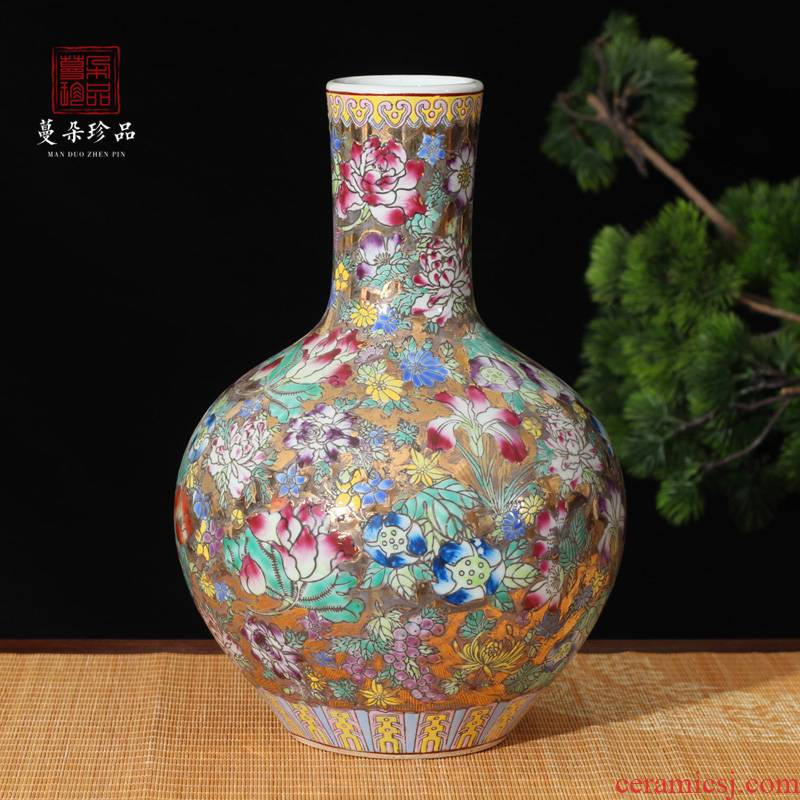 Jingdezhen hand - made famille rose flower display mesa high - grade prosperous powder enamel vase vase golden golden crane