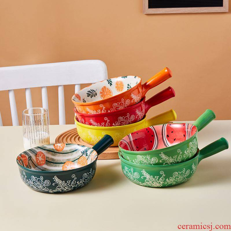 Choi pomelo home ideas with ceramic handle for job home fruit salad bowl pull roasted bowl rainbow such use large soup bowl