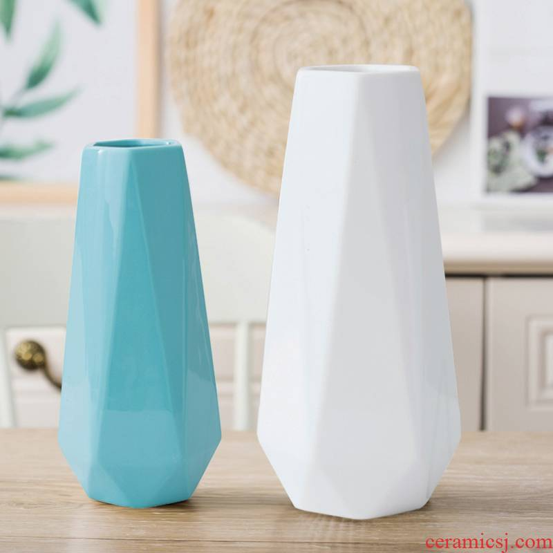 Ins Nordic ceramic vases, small pure and fresh and hydroponic flower arranging contracted white modern Nordic household decorates sitting room furnishing articles