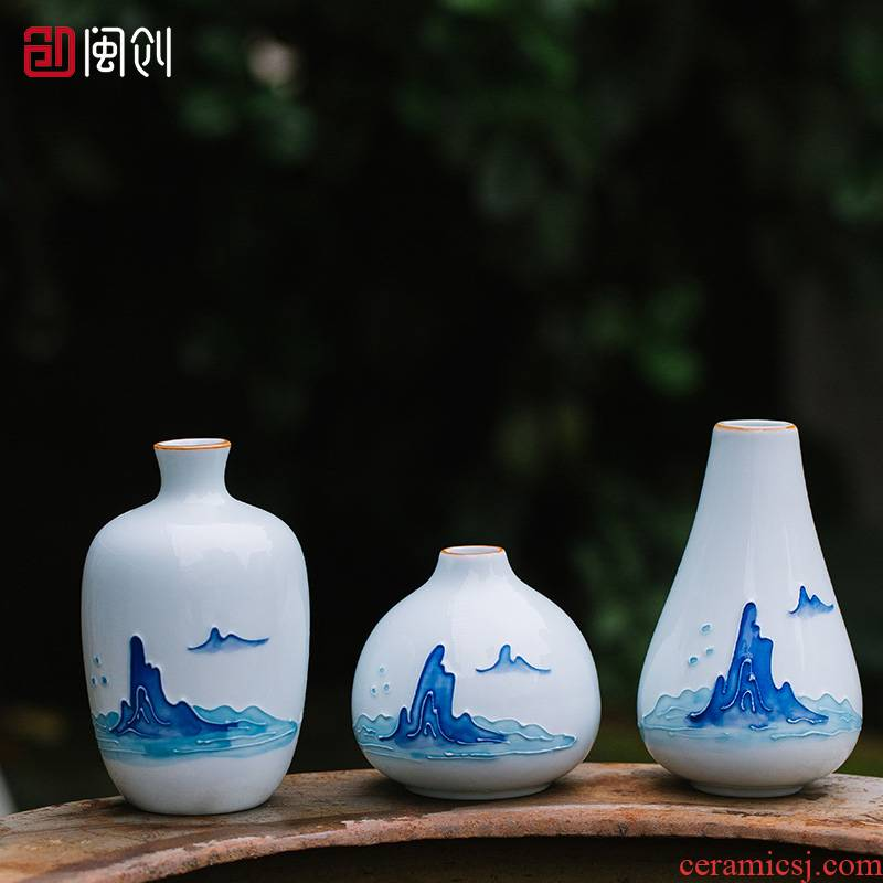 Fujian and hand - made ceramic flower creative contracted household green plant floret bottle match Chinese teahouse tea spare parts