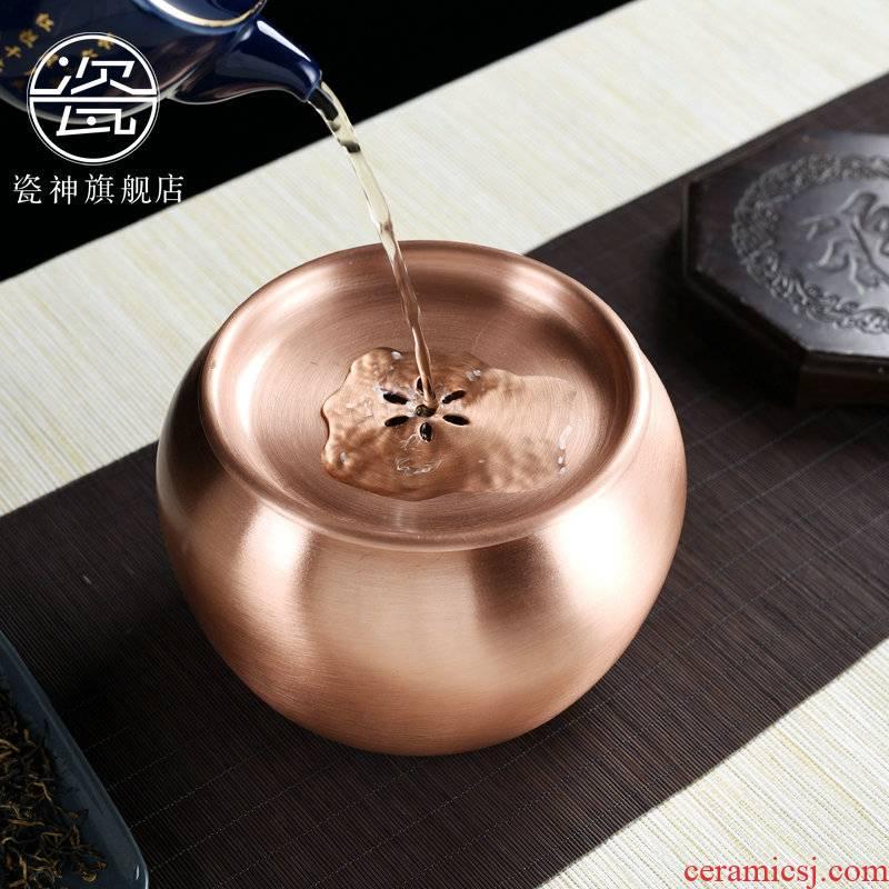 Porcelain god manual hot large bucket Japanese built water antique copper water jar kung fu tea tea wash tea taking of spare parts