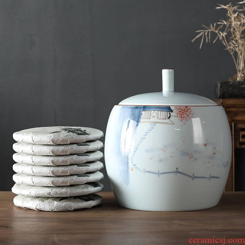 Hand - made ceramic tea pot puer tea cake storage tank is Chinese style household number happens tea cake moisture storage POTS