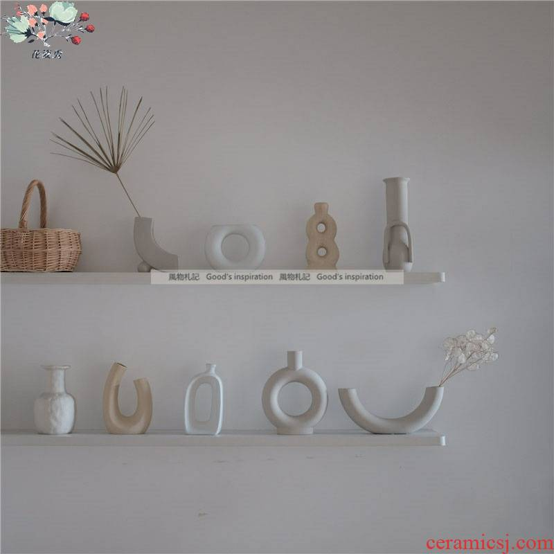 All the notes ins minimalist art element embryo ceramic vases, flower implement studio cafe furnishing articles decoration of home stay facility