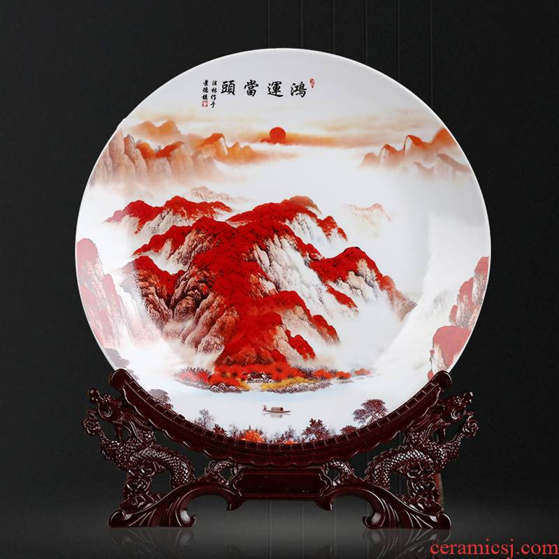 Jingdezhen ceramics luck, hang dish decorative plates of the sitting room of Chinese style household wine porch sat dish furnishing articles