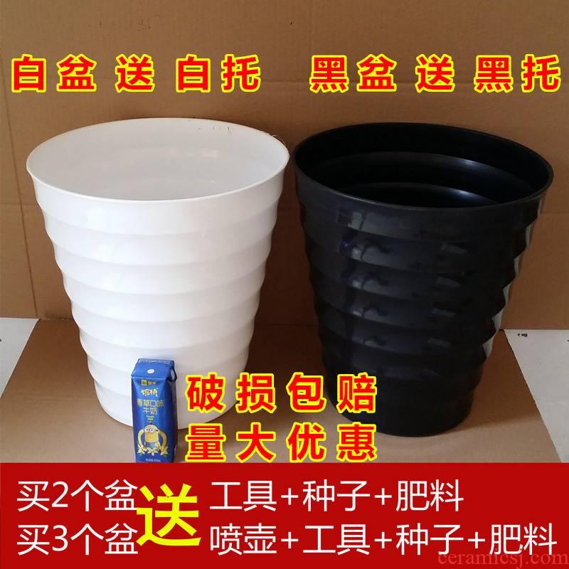 Super extra large and thick white plastic flower POTS imitation ceramic high heavy round flower pot thread flowerpot plastic