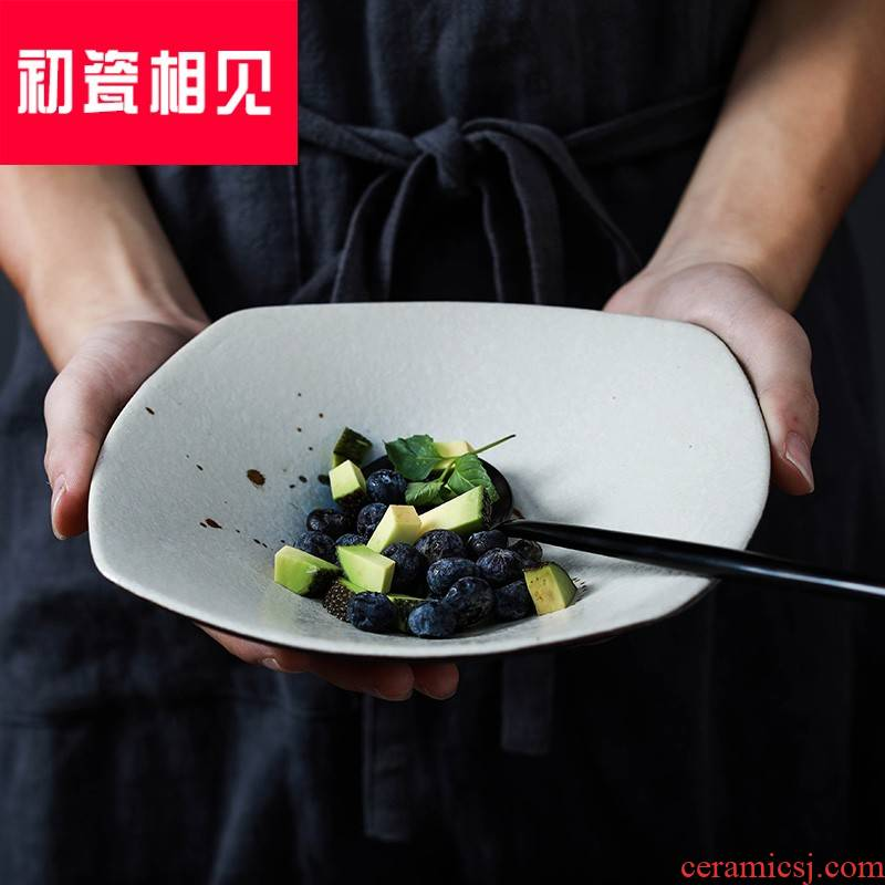 Porcelain meet each other at the beginning of hand - made ceramic square become warped side foot plate, Japan and creative home hotel with Porcelain red deep bowl