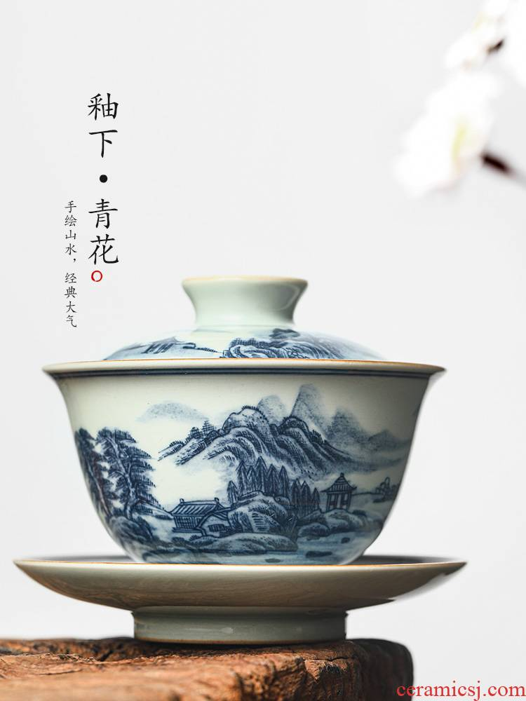 Jingdezhen blue and white only three tureen tea ware kongfu tea cup single use prevent hot pure manual hand - made of scenery
