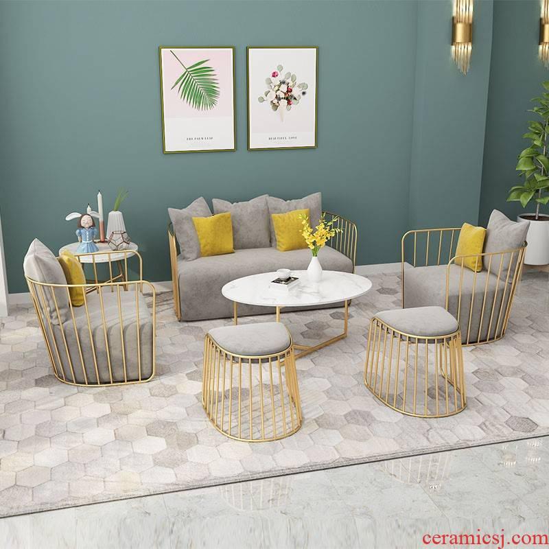 Manufacturers shot web celebrity cafe lounge area booth salon recreational sofa milk tea shop, wrought iron furniture, combination
