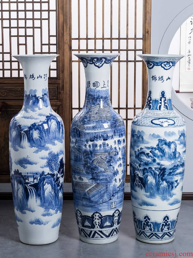 Hand - made ching Ming blue and white porcelain is jingdezhen ceramics painting of large vases, furnishing articles sitting room adornment extra large