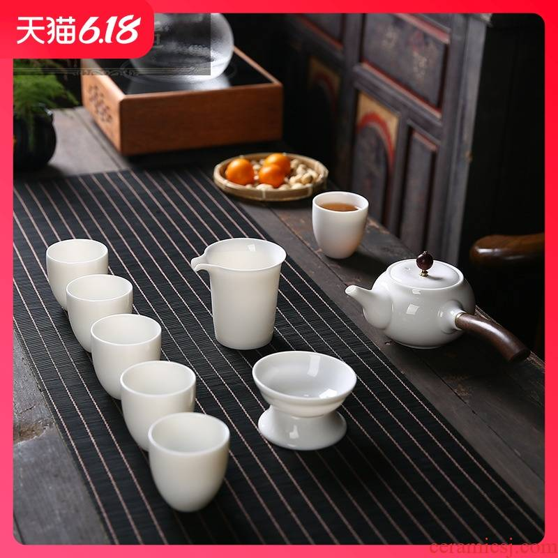Hold to guest comfortable 10 head suet jade white porcelain pot of kung fu tea set household gift set custom side