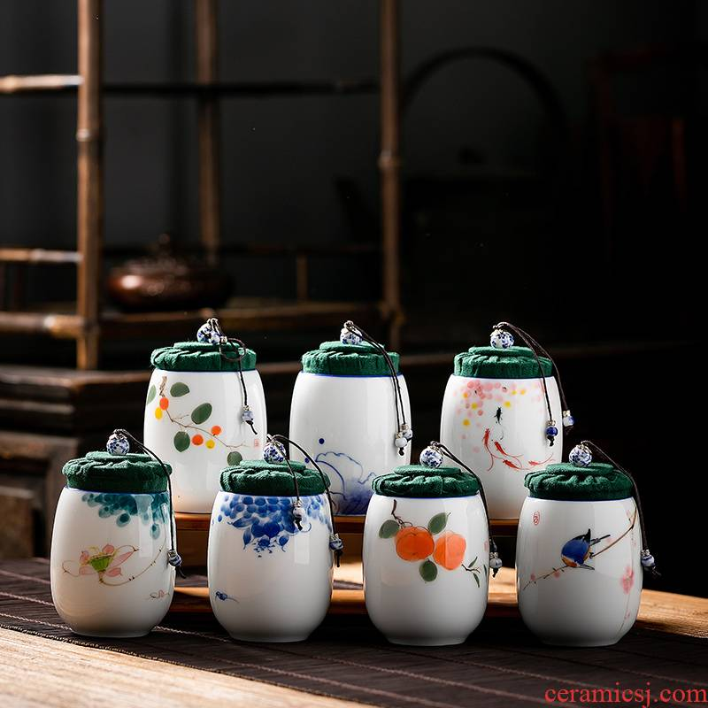 Fujian gen caddy fixings ceramic seal tank household contracted portable mini small storage POTS Japanese kung fu tea set