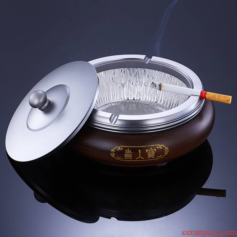 Morning high solid wood fashionable ashtray no clean rosewood gift hotel office with cover an ashtray tea taking