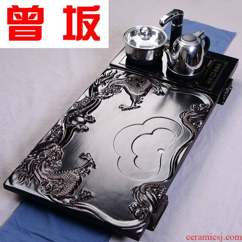 Four unity was sitting two carved dragon solid wood tea tray automatic pumping electric tea tray can be a undertakes
